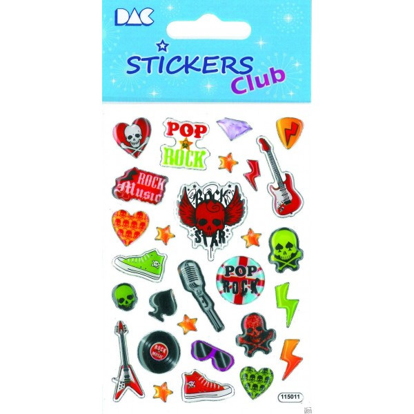 Dac stickers club Pop and Rock 3D 8x12 cm