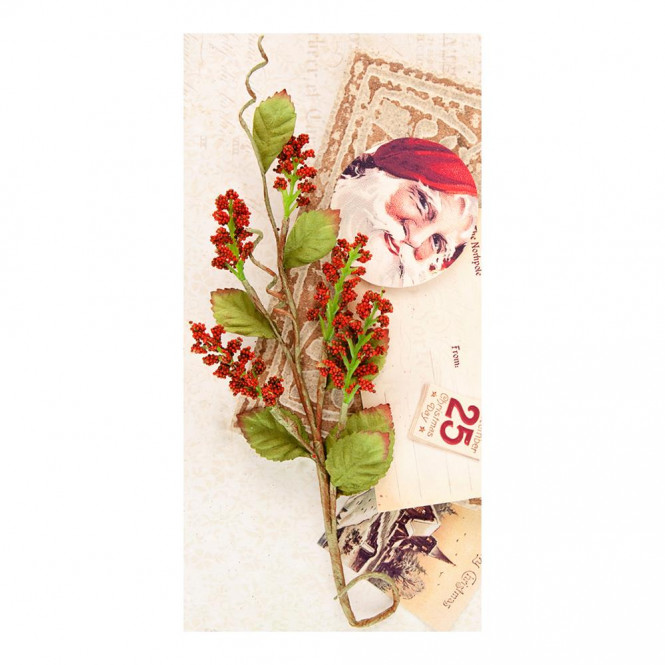 A Victorian Christmas Velvet/Mulberry Paper Leaves and Berries Midnight Kiss