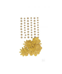 Artemio Fashion pearls and flowers Gold