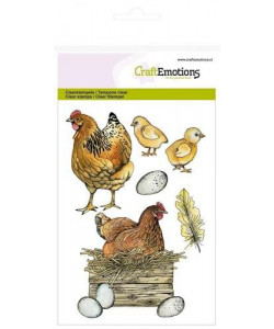 CraftEmotions Clearstamps A6 Chicken with chicks