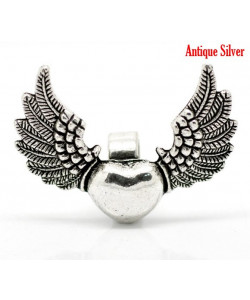 Antique Silver WingandHeart 2 st