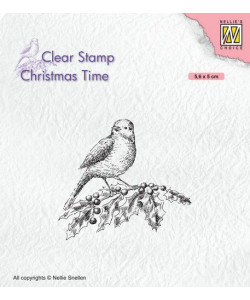 Christmas time clearstamp Bird on holy branch