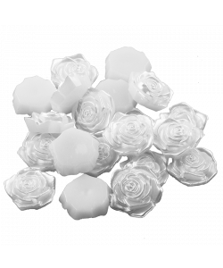 5 st WHITE ROSE CABOCHON EMBELLISHMENTS PEARL EFFECT