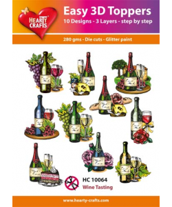 "Easy 3 D toppers 10 st ""Wine Tasting"""