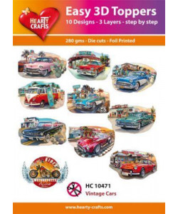"Easy 3 D toppers 10 st ""Vintage Cars"""