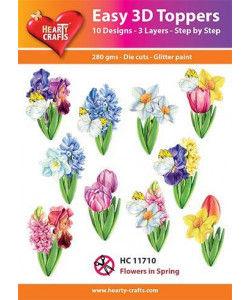 "Easy 3 D toppers 10 st ""Flowers in Spring"""