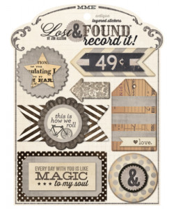 Lost and Found Record it Antique Layered Stickers