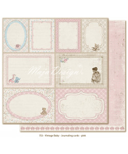 MD Vintage Baby Journaling Cards Pink