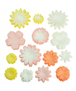 Peach-Yellow-White 100 mixade blommor