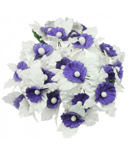 White and Lilac/Blue Mulberry Paper Orchids