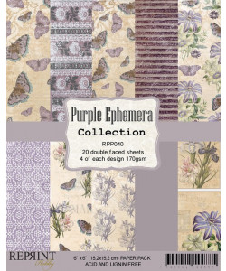 Purple Ephemera Collection Paperpack 6 x 6