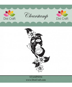 """Dixi Craft Clearstamp """"Butterfly and Flowers"""""""